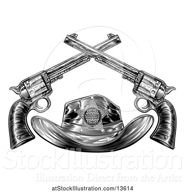 Vector Illustration of Cowboy Sheriff Hat with Crossed Guns in Black and White