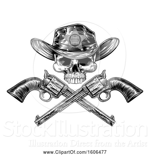 Vector Illustration of Cowboy Sheriff Skull over Crossed Guns in Black and White