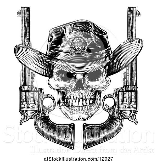 Vector Illustration of Cowboy Sheriff Skull with Crossed Guns in Black and White