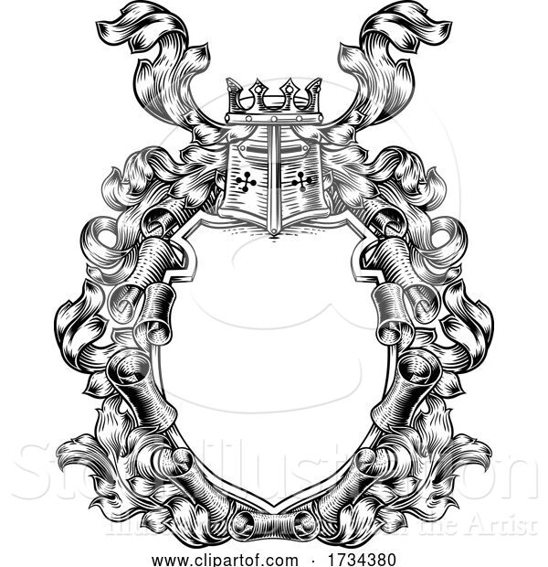 Vector Illustration of Crest Coat of Arms Royal Scroll Shield