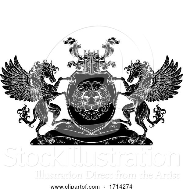 Vector Illustration of Crest Pegasus Horses Coat of Arms Lion Shield Seal