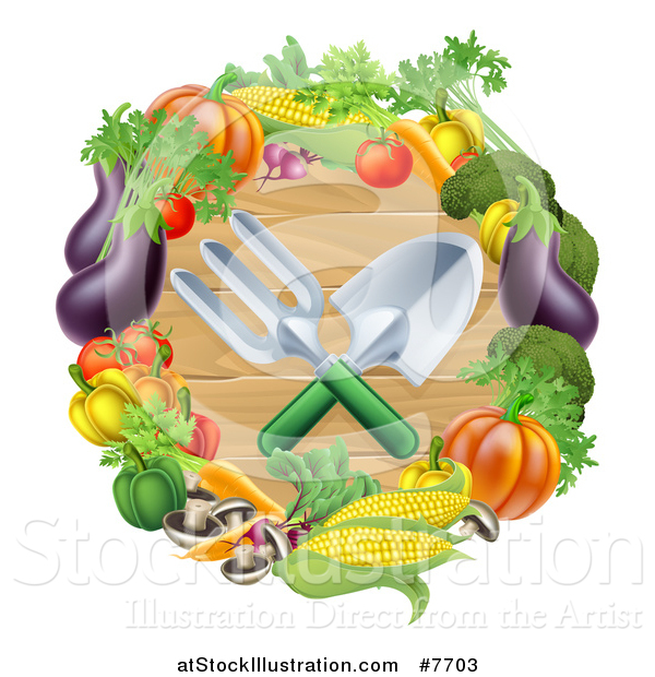 Vector Illustration of Crossed Garden Tools over Wood in a Vegetable Wreath