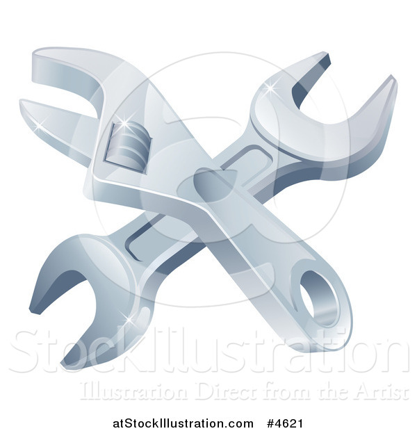 Vector Illustration of Crossed Spanner and Adjustable Wrenches