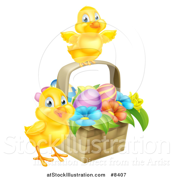 Vector Illustration of Cute Yellow Chicks with an Easter Basket of Eggs and Flowers