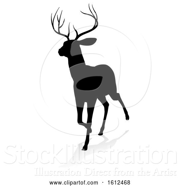 Vector Illustration of Deer Animal Silhouette, on a White Background