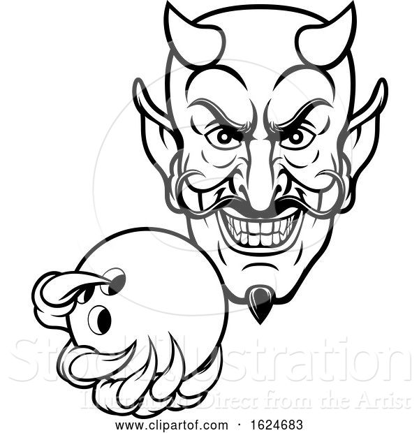 Vector Illustration of Devil Bowling Sports Mascot