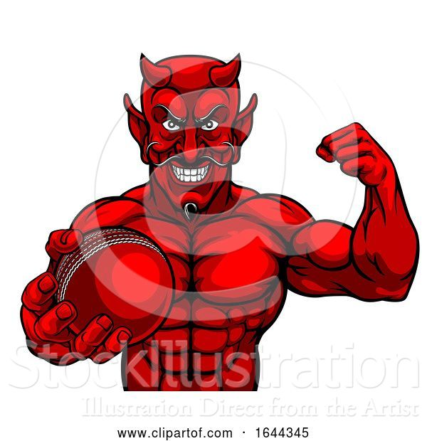 Vector Illustration of Devil Cricket Sports Mascot Holding Ball