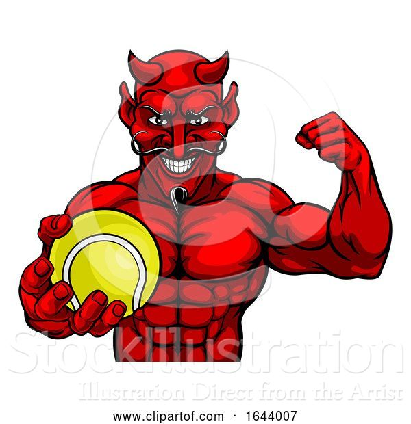 Vector Illustration of Devil Tennis Sports Mascot Holding Ball