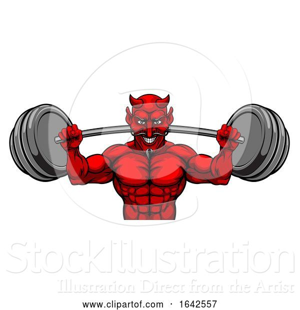 Vector Illustration of Devil Weight Lifting Body Builder Sports Mascot