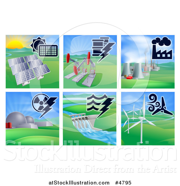 Vector Illustration of Different Energy Power Plants