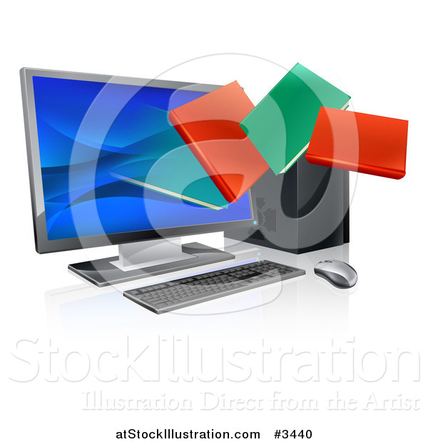 Vector Illustration of Digital Books Emerging from a Desktop Computer Screen