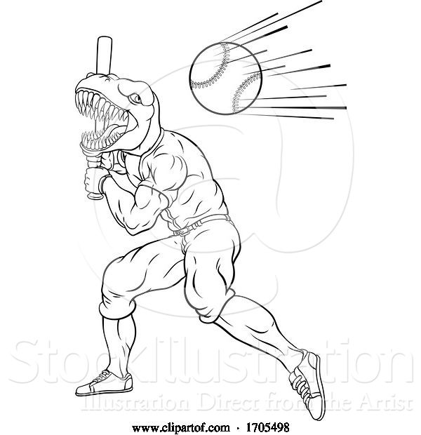 Vector Illustration of Dinosaur Baseball Player Mascot Swinging Bat