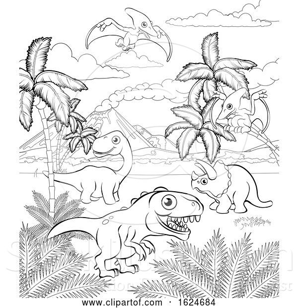 Vector Illustration of Dinosaur Prehistoric Landscape Scene