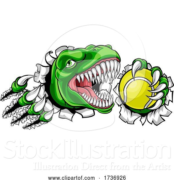 Vector Illustration of Dinosaur Tennis Player Animal Sports Mascot