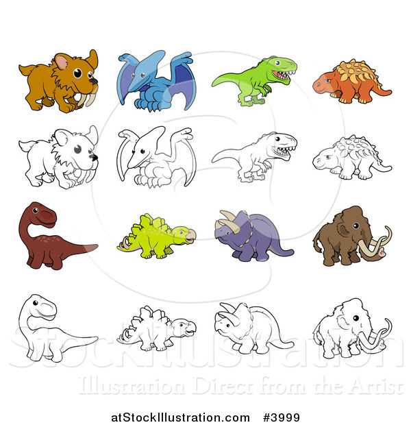 Vector Illustration of Dinosaurs and Prehistoric Animals in Color and Black and White