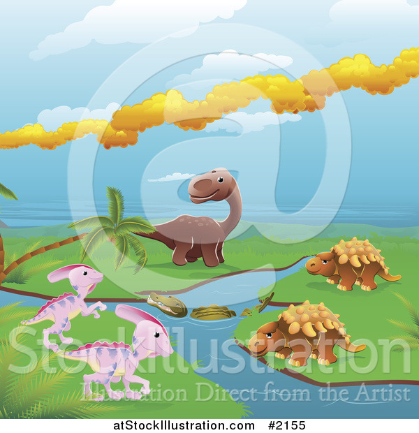 Vector Illustration of Dinosaurs by a Stream