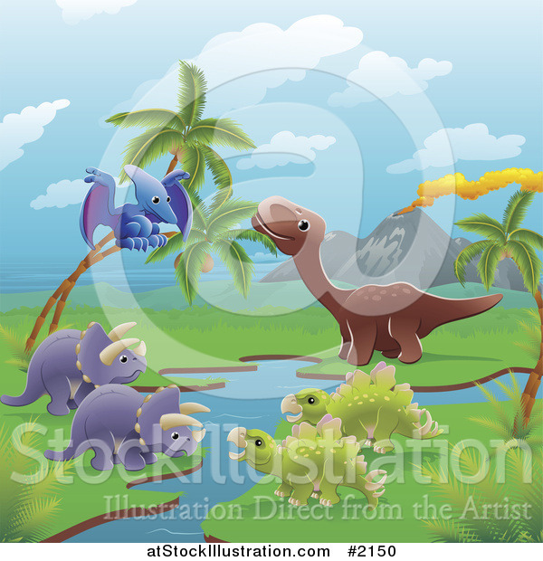 Vector Illustration of Dinosaurs by a Volcano and Stream