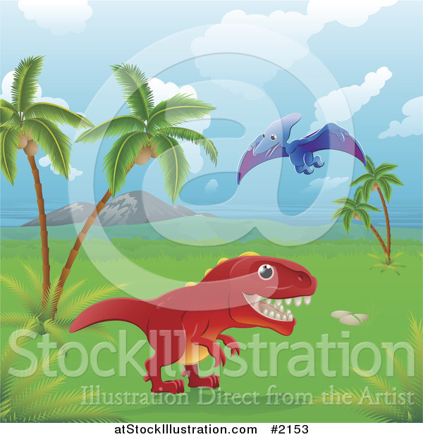 Vector Illustration of Dinosaurs in a Tropical Landscape