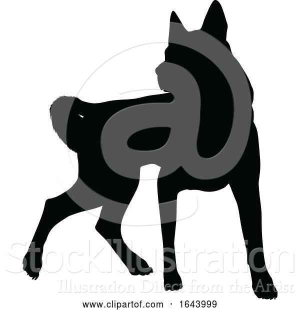 Vector Illustration of Dog Silhouette Pet Animal