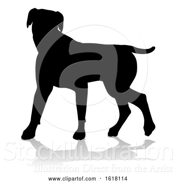 Vector Illustration of Dog Silhouette Pet Animal, on a White Background