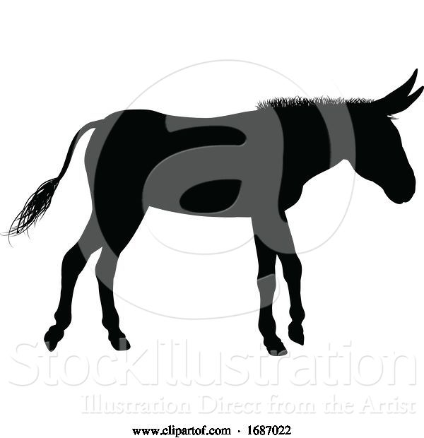 Vector Illustration of Donkey Animal Silhouette