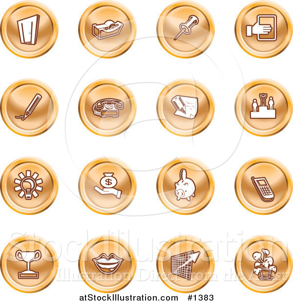 Vector Illustration of Door, Tape Dispenser, Tack, Pencil, Phone, Champion, Lightbulb, Money Bag, Piggy Bank, Cell Phone, Trophy, Lips, Chart, and Plant