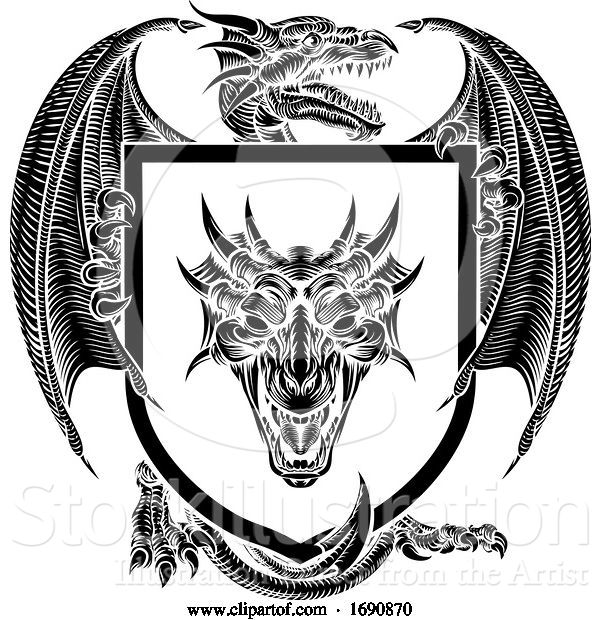 Vector Illustration of Dragon Coat of Arms Crest Shield Heraldic Emblem