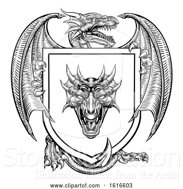 Vector Illustration of Dragon Heraldic Crest Coat of Arms Emblem Shield