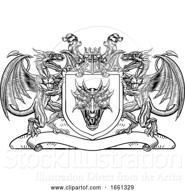 Vector Illustration of Dragon Heraldic Crest Coat of Arms Shield Emblem