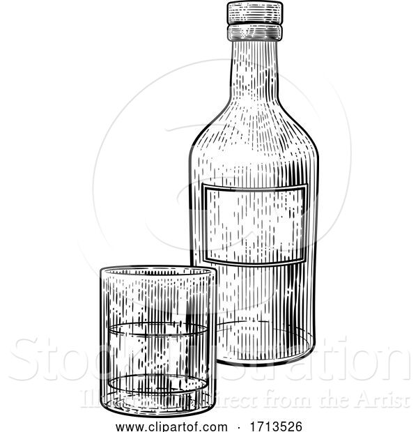 Vector Illustration of Drinks Glass and Bottle in Vintage Woodcut Style