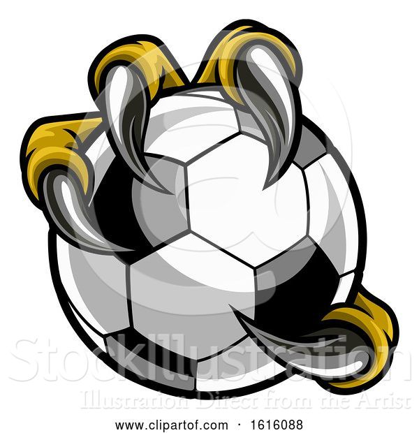 Vector Illustration of Eagle Bird Monster Claw Talons Holding Soccer Ball