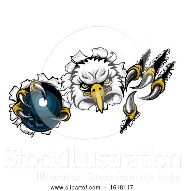 Vector Illustration of Eagle Bowling Mascot Ripping Background