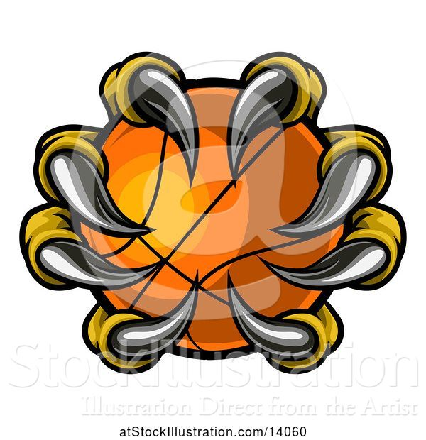 Vector Illustration of Eagle Claws Grasping a Basketball