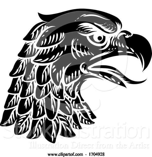 Vector Illustration of Eagle Falcon Hawk or Phoenix Head Face Mascot