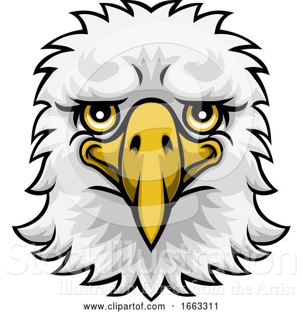Vector Illustration of Eagle Mascot Cute Happy Character
