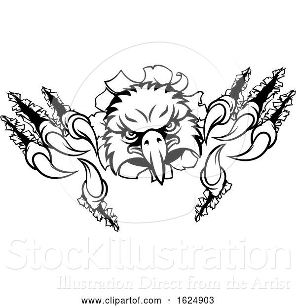 Vector Illustration of Eagle Sports Mascot Ripping Background