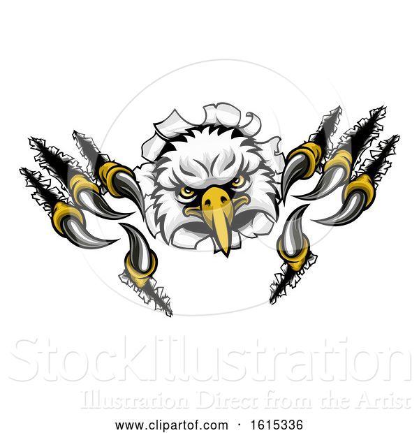 Vector Illustration of Eagle Sports Mascot Tearing Background