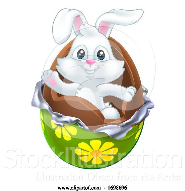 Vector Illustration of Easter Bunny Rabbit Breaking out of Chocolate Egg
