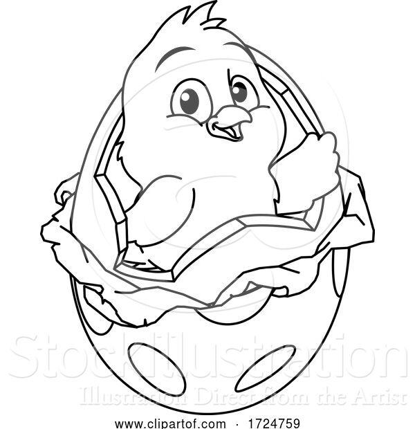 Vector Illustration of Easter Chick Egg Coloring Book Page