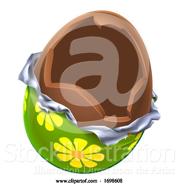 Vector Illustration of Easter Egg Chocolate Broken Open