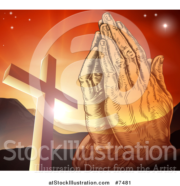 Vector Illustration of Engraved Praying Hands over a Christian Cross, Orange Sunset and Mountains