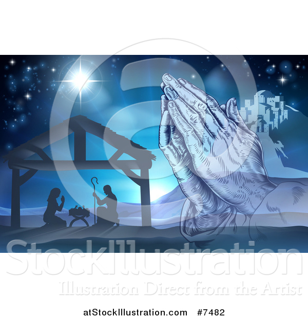 Vector Illustration of Engraved Praying Hands over a Silhouetted Christmas Nativity Scene at the Manger with the Star of Bethlehem and City in Blue Tones
