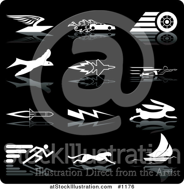 Vector Illustration of Envelope with Wings, Race Car with Flames, Race Car Tire, Bird, Jet, Super Man, Rocket, Lightning, Rabbit, Runner, Cheetah and Sailboat, over a Black Background