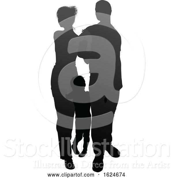 Vector Illustration of Family Detailed Silhouette