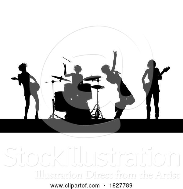 Vector Illustration of Female Music Band Concert Silhouettes