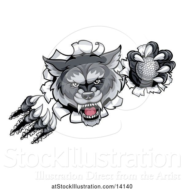 Vector Illustration of Ferocious Gray Wolf Slashing Through a Wall with a Golf Ball