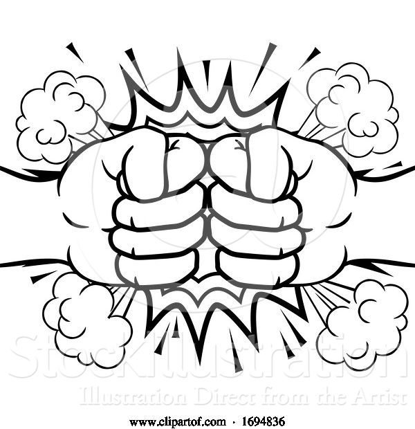 Vector Illustration of Fist Bump Explosion Hands Punch