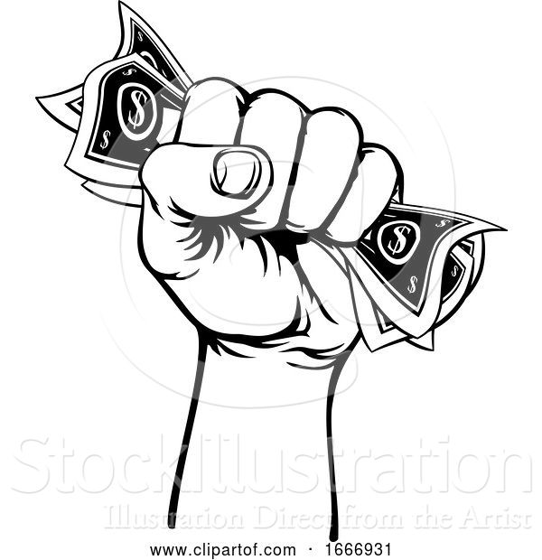 Vector Illustration of Fist Hand Holding Cash Money