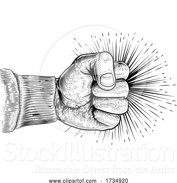 Vector Illustration of Fist Punching Vintage Propaganda Woodcut Style