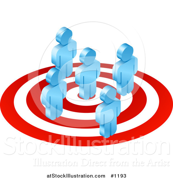 Vector Illustration of Five Blue Men Standing on a Red and White Target